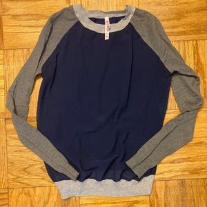 Navy and Gray Color Block Sweater- sheer front.